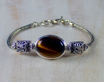 Gift idea girlfriend, Tiger eye silver bracelet, natural stone bracelet, ethnic silver Bali handmade handcrafted jewelry