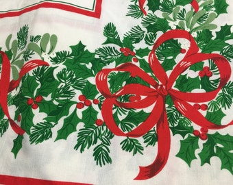 "Large Vintage Christmas Holiday Holly and Berries and Ribbons Tablecloth  62""x 86""  Tagged Made in Brazil"