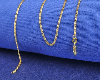 "18K Yellow Gold Filled Chain Flat S Chain Necklace 18"" and 20"""