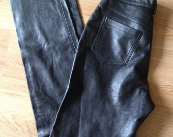 Vintage 1990's leather trousers, black, grunge, gothic retro style, straight leg, high waist,