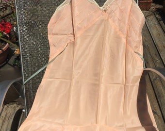 Vintage 1940-50s' teddy/ made by BAR RODA/peach washable silk/size Small