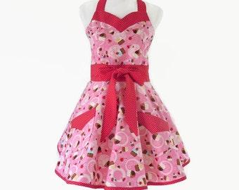 Plus Cupcakes Retro Apron, Plus Cupcakes Apron, Plus Peronalized Apron, Plus Full Skirt Apron with Cupcakes, Mothers Day Gift Apron for Her