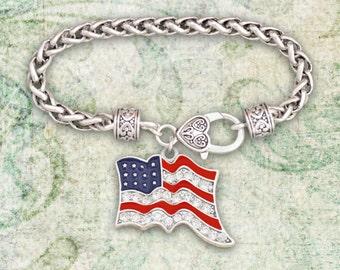 American Flag Braided Clasp Bracelet - 48089