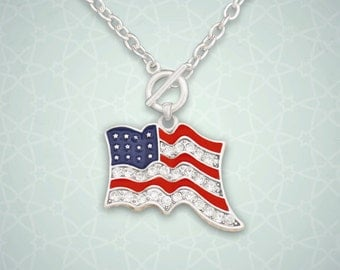 American Flag Toggle Necklace - 49883