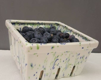Ceramic Berry Basket - Blueberry Basket - Strawberry Basket - Ceramic Produce Basket - Ceramic Basket- Hand Painted Ceramic Berry Basket