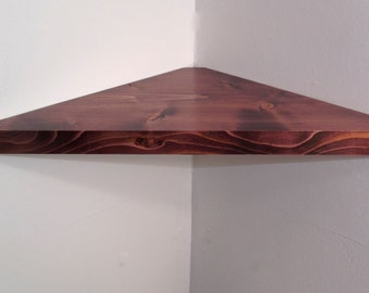 24 Inch Floating Corner Shelf with Black Cherry Stain Handmade in the USA