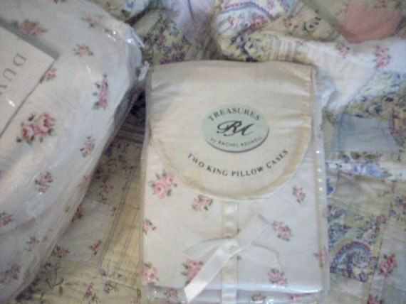 Rachel Ashwell Shabby Chic Pillow Cases : Rachel Ashwell Rosebud Pillowcases KING PAIR Shabby Chic Rare