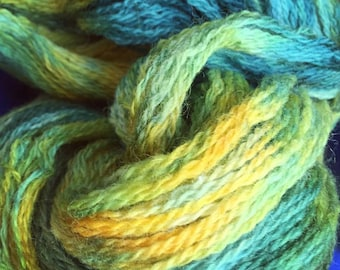 440 yards of Ooak Hand dyed Peruvian Wool in Stunning and Bright Blues and Yellows