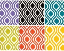 Geometric Emily Curtain Panel with Rod Pocket by Primal Vogue™ - Orangle Teal Yellow Lime Black - UNLINED - Wave Nautical Abstract Pattern