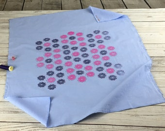 Light blue cotton fabric, Kilberry cotton,  Blue cotton fabric with hand printed flowers design in pink and dark blue