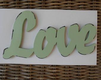 Love Wooden Antiqued Mint Sign