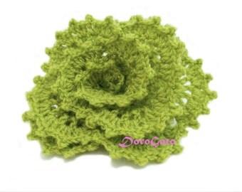 Olive Crochet brooch, Handmade brooch, crochet jewelry, Crochet flower brooch, lapel pin, shawl pin, mori girl, gift for her