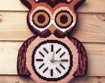 Beginner Owl Cross Stitch Clock Pattern