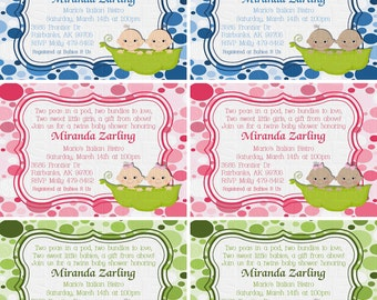 Print Your Own - Two Peas In A Pod Twins Baby Shower Invitation *Choose Babies*