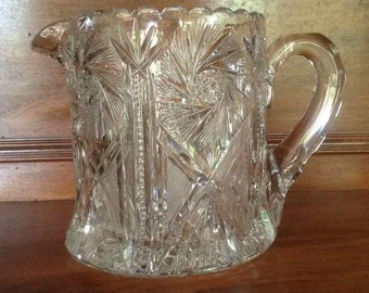 Antique American Cut Glass Pitcher with Hobstars, Pinwheels, and Sawtooth Edge - Possible American Brilliant Period Cut Glass (1876 to 1916)