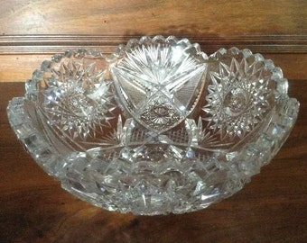 Antique American Cut Glass Bowl with Hobstars, Fans, and Sawtooth Edge - Possible American Brilliant Period Cut Glass (1876 to 1916)