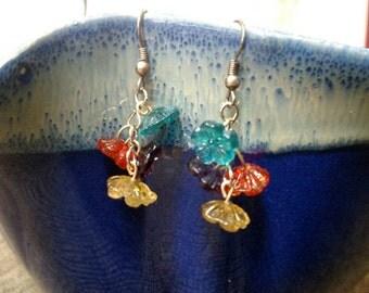 Rainbow flower cluster earrings