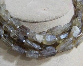 1 Strand Bio Smoky Lemon Quartz  Natural crystal shapes beads 10'' 25. grams 7X11 12X18 MM