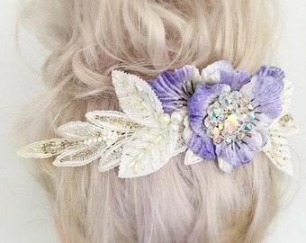 Vintage Velvet Flower Bridal Headpiece Hair Accessory