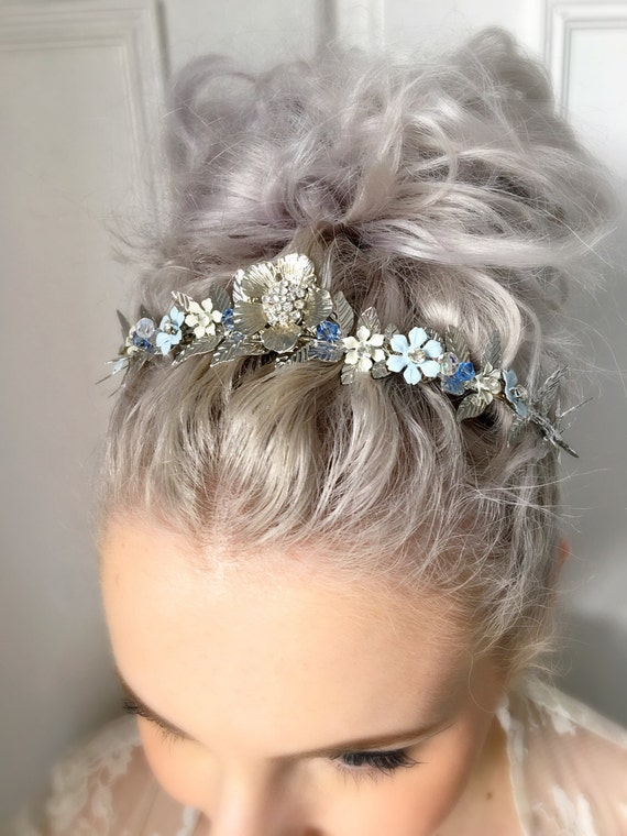 Floral Bridal Headdress : Silver floral bridal headpiece blue handpainted flowers