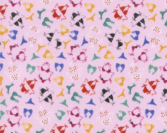 CLEARANCE! Pink Multicolored Bikini Fabric By The Half Yard from Timeless Treasures 100% Cotton Novelty Pink, red, blue, black, yellow