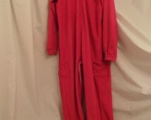 Hooded Adult Onesie Pajamas with snap up inseam- Size Men Small, women Large