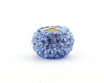 Rhinestone Pave Bead *Light Sapphire* (Shamballa) - 84 rhinestones, (Hole Size: 4.7 mm) for leather and cord   SB07047