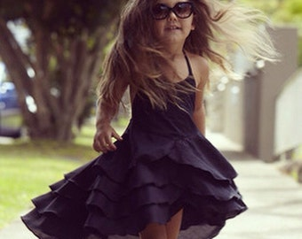Pure Cute Girls Party Dress in Flamenco Black