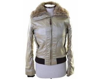 Miss Sixty Womens Jacket Size 14 Medium Beige Polyester Polyamide