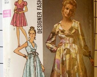 Simplicity 3790 Mod Dress Pattern, 1970, Size 14 Bust 36, Sleeveless, Long, Short Sleeves