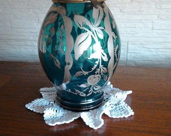 Old vase decorated with emerald green silver-silver-painted vase vase decorated