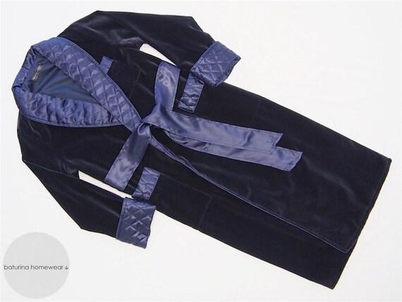 Navy Velvet Men's Dressing Gown Heavy Warm Quilted Silk : mens quilted dressing gown - Adamdwight.com