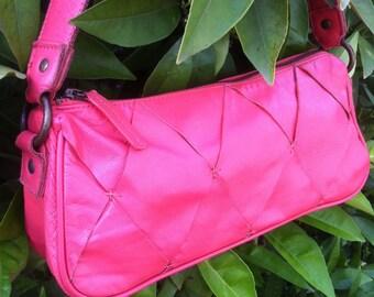 Orange leather shoulder bag, coral leather bag, diamond pattern bag, woven leather bag, pink orange bag, leather bag