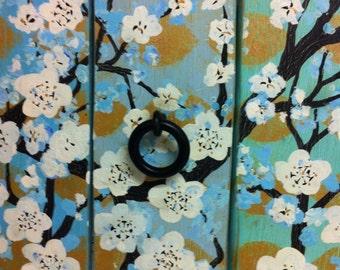Blossom painting, floral painting, door painting, sculpture, door art, wooden door decor, wall art, boho decor, Asian decor, wooden door