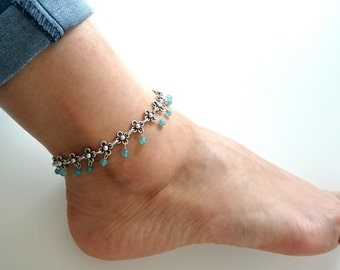 Ottoman foot necklace//silver-plated foot chain//Turkish jewelry//Gypsy anklet/Summer/blue/present/for