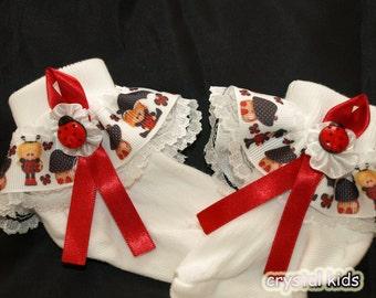 Unique Baby Girls Socks White Red Ladybug Socks Little Girls Socks Various Sizes