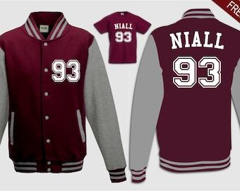 custom niall 93 burgundy grey college varsity jacket sweater top boys girls