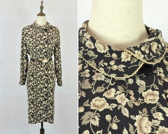 1970s Japanese Vintage Floral Dress / Secretary Dress / Day Dress / Made in Japan / Size Medium