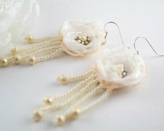 White bridal earrings beaded long earrings white organza earrings wedding earrings pearl earrings  bridal flowers earrings wedding flowers