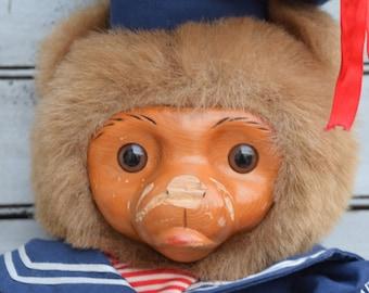 Raikes Bear, Wood Faced Bear, Sailor Bear, Stuffed Bear, Vintage Monkey, Vintage Chimp, Bear Decor, Stuffed Monkey, Large Stuffed Bear