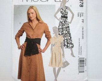 McCall's 5378 ~ Casual Day Dress with Close-Fitting Bodice, Front & Back Darts, Button Front and Sash SIZE 16-18-20-22 UNCUT Sewing Pattern