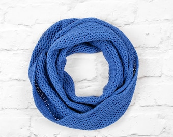 Blue Scarf, Cotton Scarf, Lace Scarf, Lightweight Knitted Scarf, Infinity Scarf, Knitted Cotton Scarf