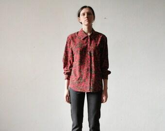 Vintage red floral blouse