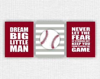 Boy Sports Nursery Wall Art, Baseball Wall Art, Dream Big Little Man, Sports Quote, Set of 3, 8x10, INSTANT DOWNLOAD