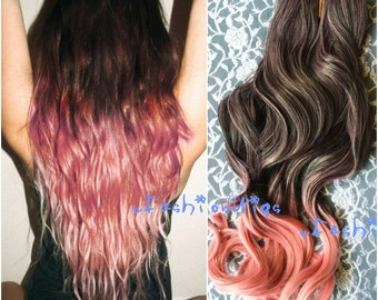 Black to Pink Two Color Ombre hair extension, Synthetic Hair extensions UF311