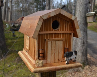 Rustic Barn Birdhouse with cow