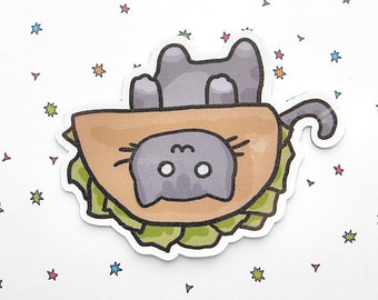 Refrigerator Magnet Cute Cat Magnet Gray Cat in a Taco Hat Cute Magnet Cat Magnet Fridge Magnet Cubicle Decor Kawaii Magnet Cute Cat Kitty