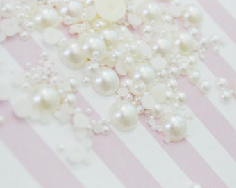 2mm-10mm Mixed Sizes Off-White Half Pearl Flatback Decoden Cabochons - 200 piece set
