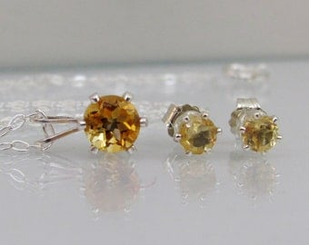 Citrine Jewelry Set in Sterling Silver, Citrine Necklace and Earring Set, Citrine Gemstone, Citrine Post Earrings, November Birthstone