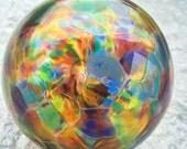 Calico blown glass ornament globe, 4 inches, handmade